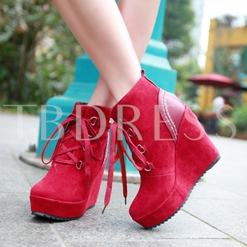 Patchwork Round Toe Wedge Heel Short Floss Women's Ankle Boots