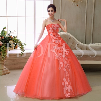 Ball Gown Appliques Beading Sweetheart Quinceanera Dress