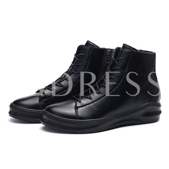 Round Toe Lace-Up Front Flat Heel Ankle Men's Sneakers