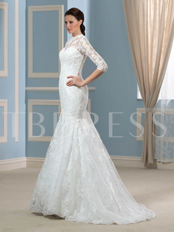 Jewel Appliques Lace 3/4 Length Sleeve Trumpet/Mermaid Wedding Dress