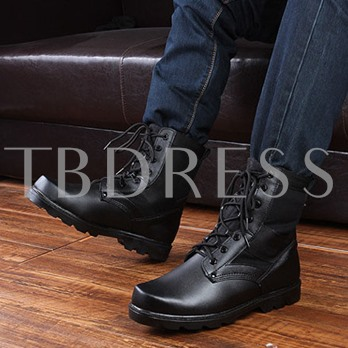 Round Toe Square Heel Patchwork Lace-Up Front Men's Ankle Boots