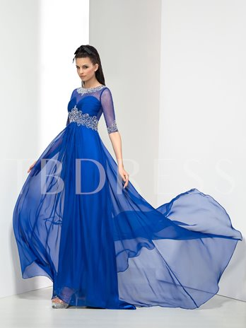 A-Line Half Sleeve Beaded Ruches Long Evening Dress
