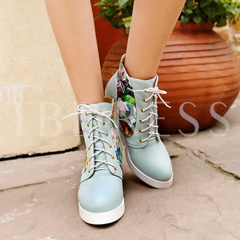 Floral Elevator Heel Round Toe Lace-Up Front Women's Ankle Boots