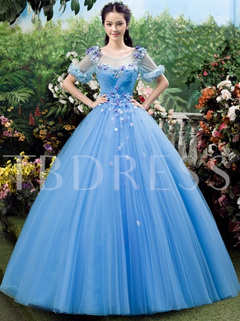 Short Sleeve Round Neck Ball Gown Flowers Ruched Quinceanera Dress