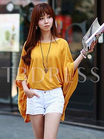 Solid Color Loose Women's T-shirt