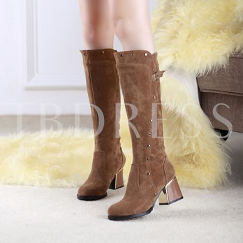 Round Toe Rivet Square Heel Slip-On Knee-High Women's Boots