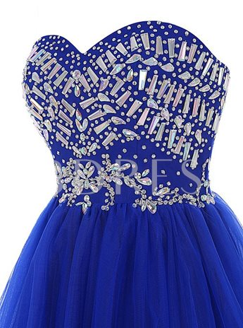 A-Line Sweetheart Piping Beaded Homecoming Dress