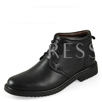 Square Heel Lace-Up Front Round Toe Ankle Men's Boots