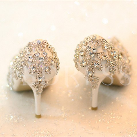 Slip-On Rhinestone Pointed Toe Stiletto Heel Women's Wedding Shoes