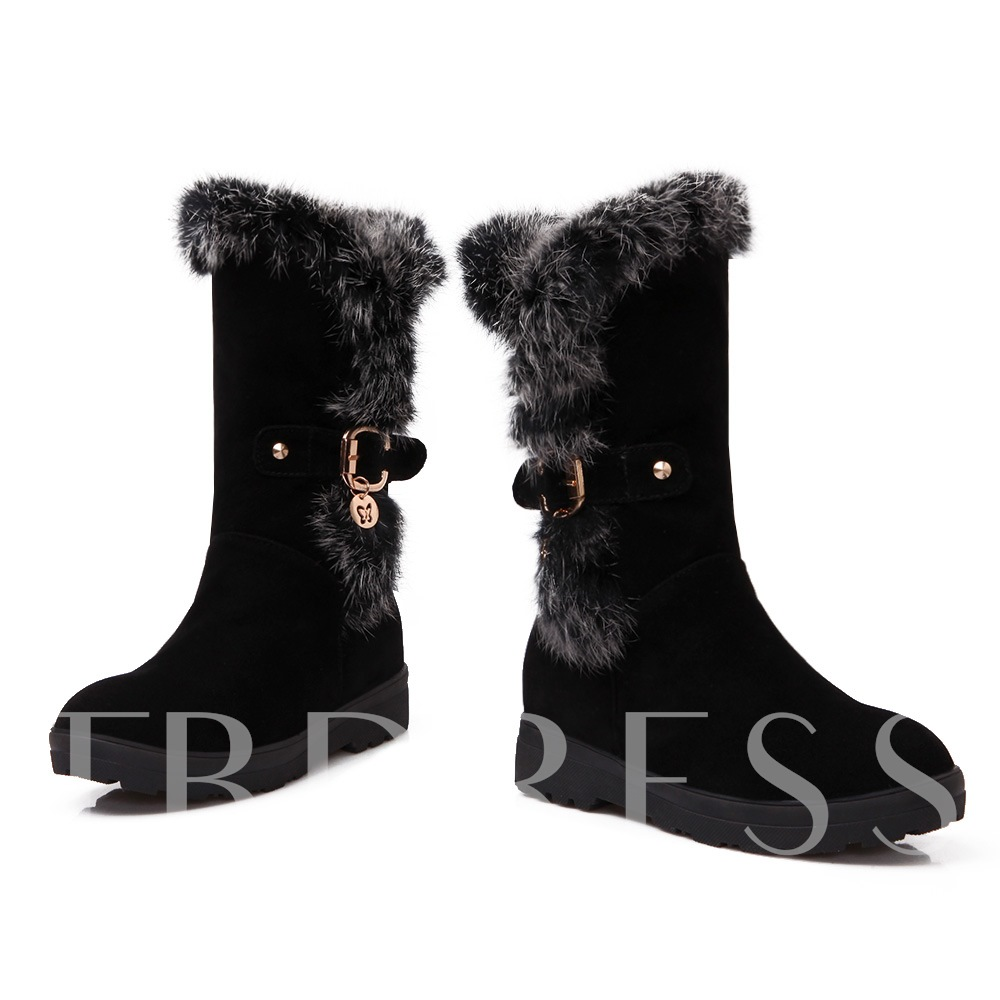Sllip-On Round Toe Short Floss Ankle Women's Snow Boots