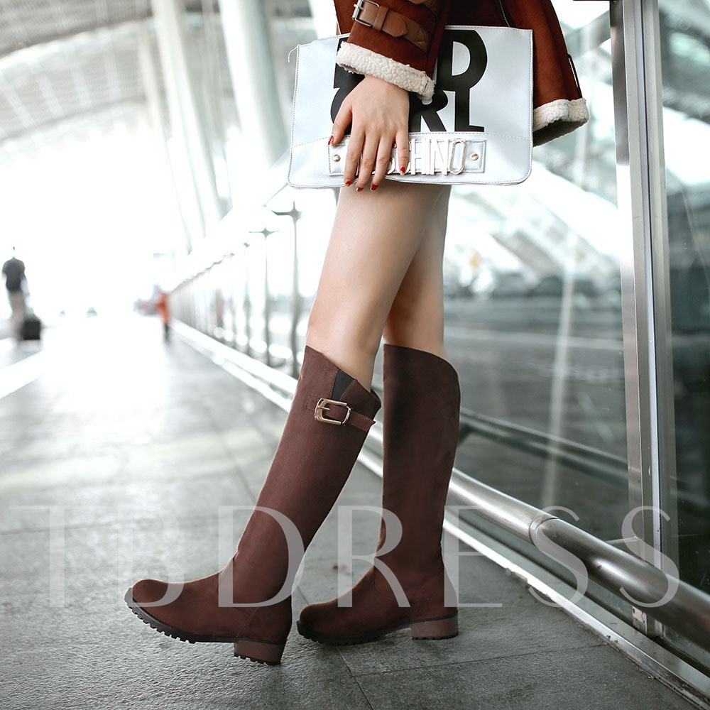 Square Mid Heel Round Toe Slip-On Knee High Women's Boots