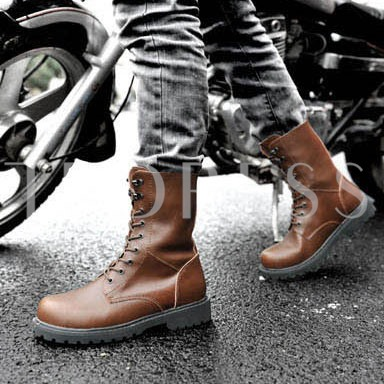 Square Heel Round Toe Lace-Up Front Men's Ankle Boots