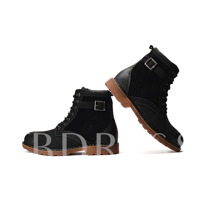 Patchwork Square Heel Buckle Men's Ankle Boots