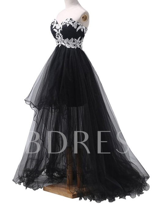 Sweetheart Appliques High Low Evening Dress