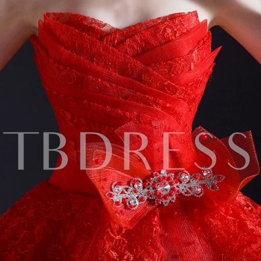 Red Tiered Appliques Ball Gown Wedding Dress