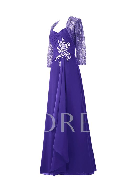 Straps Beading Mother Dress with Lace Jacket