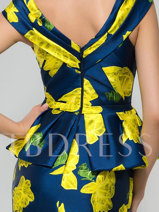 V-Neck Print Peplum Long Evening Dress