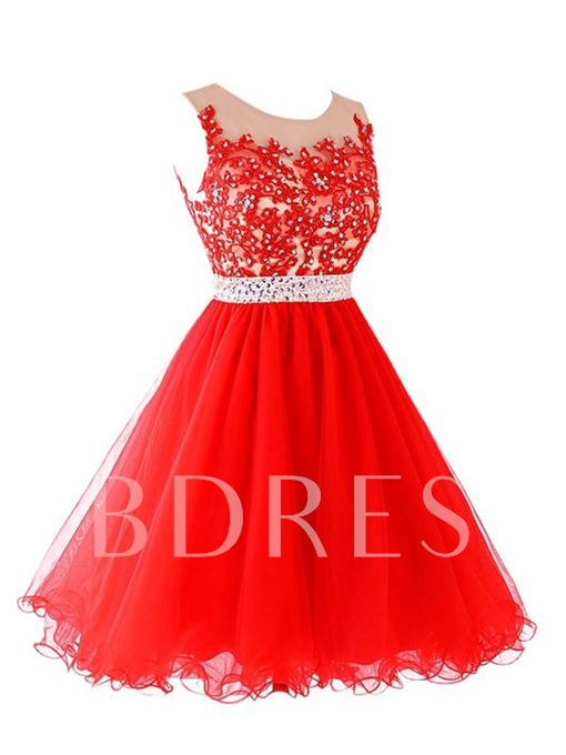 A-Line Appliques Beaded Homecoming Dress