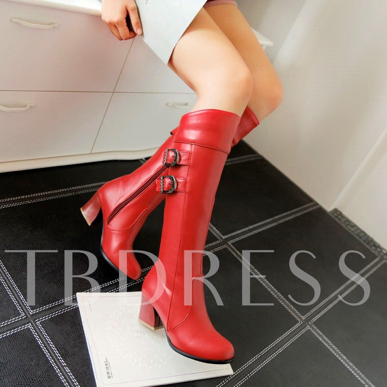 Side Zipper Round Toe Square Heel Knee-High Women's Boots