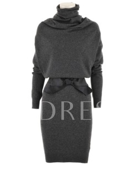 Pure Color Turtleneck Long Sleeve Women's Sweater Dress