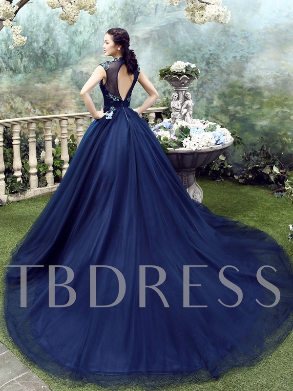 000782b49f High Neck Floor-Length Appliques Ball Gown Evening Dress 2019. Sold Out