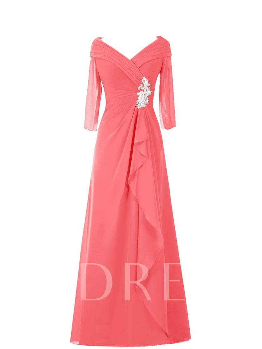 Pleats Appliques Mother of the Bride Dress with Sleeves