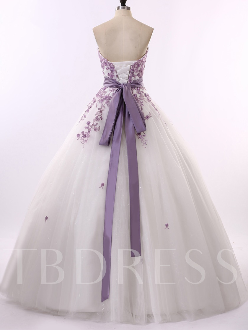 Sashes Strapless Appliques Ball Gown Wedding Dress 2019