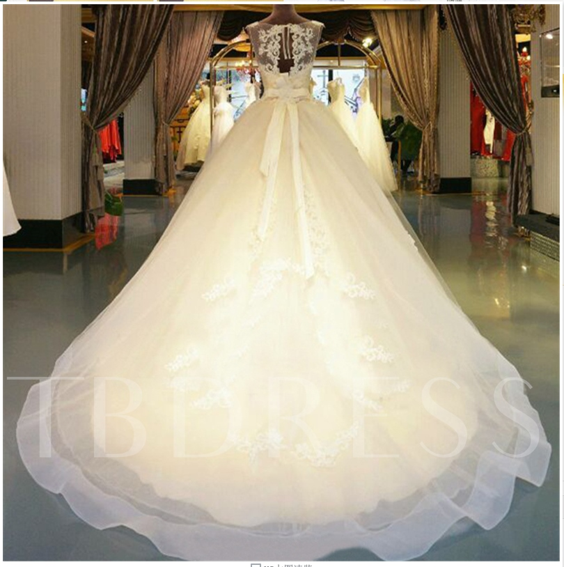Bowknot Sashes Appliques Beading Ball Gown Wedding Dress