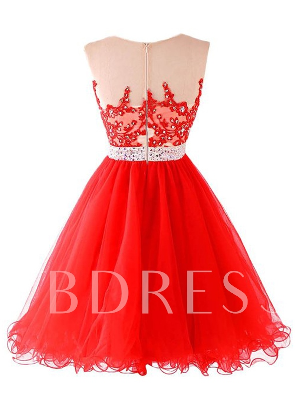 A-Line Appliques Sequins Beaded Homecoming Dress