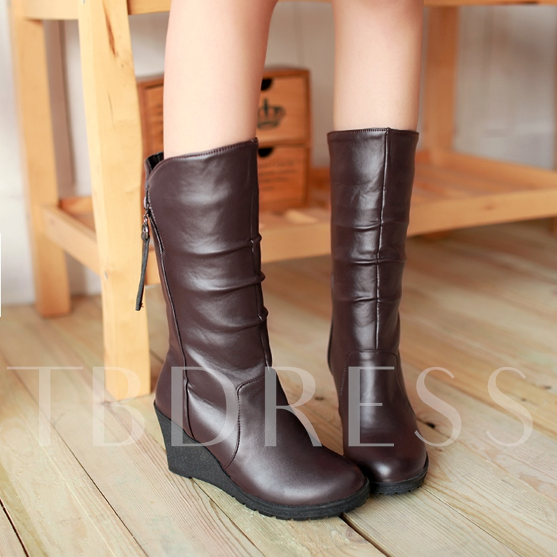 Side Zipper Wedge Heel Round Mid Calf Women's Boots