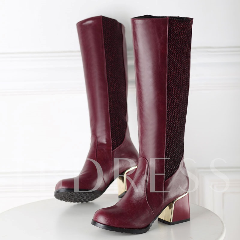 Square Heel Round Toe Slip-On Women's Knee High Boots