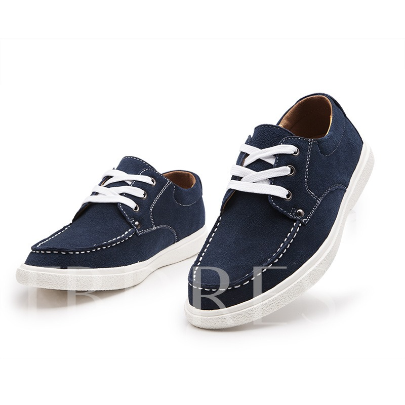 Round Toe Flat Heel Lace-Up Front Men's Canvas
