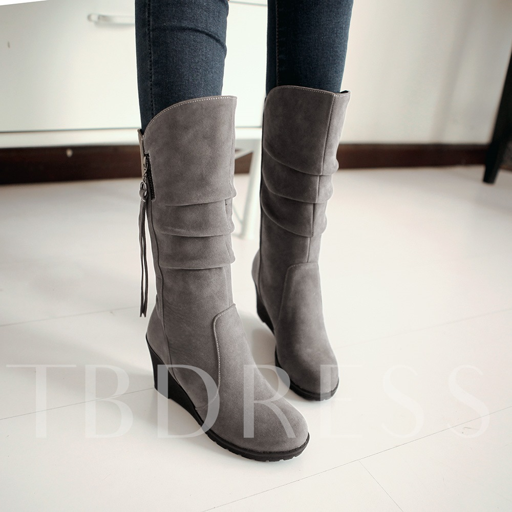 Wedge Heel Round Toe Side Zipper Mid-Calf Women's Boots