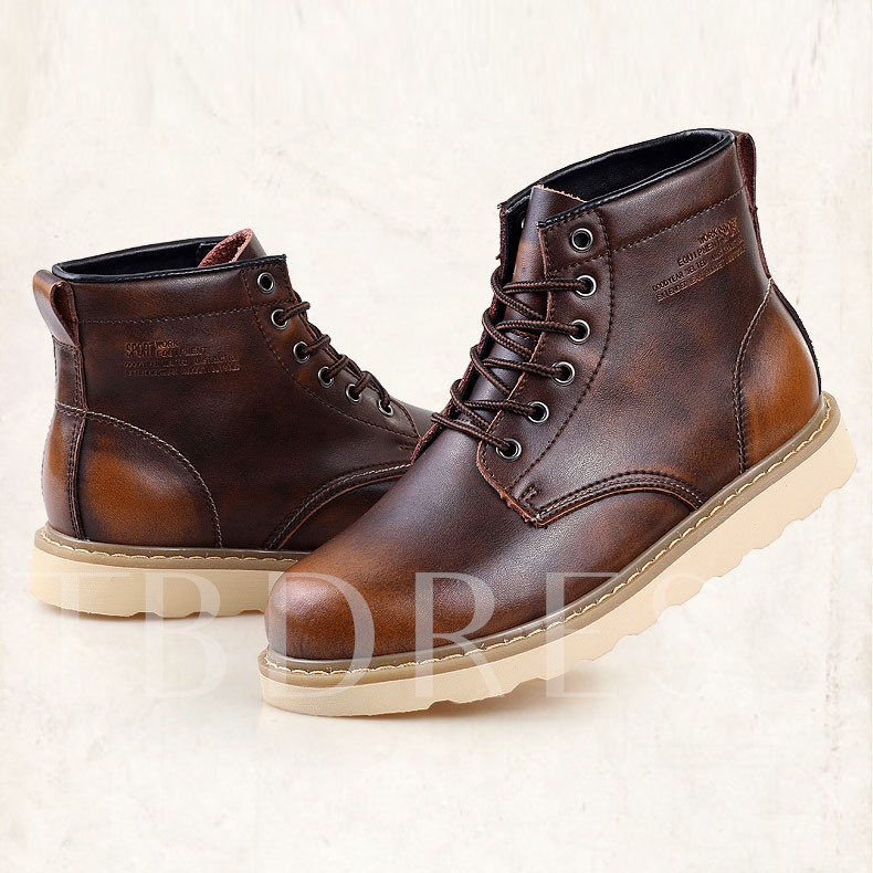 Lace-Up Front Flat Heel Ankle Men's Boots