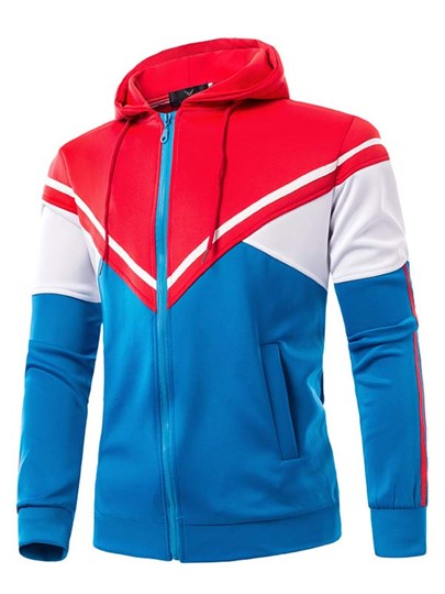 Multi-color Patchwork Men's Fleece Hoodie