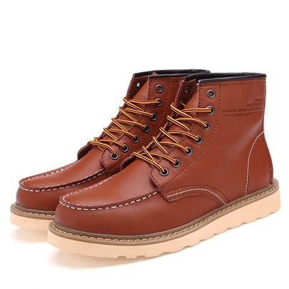 Flat Low Heel Round Toe Lace-Up Front Men's Ankle Boots