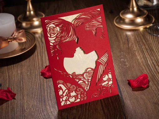 Red Hollow-Out Newlyweds Invitation Cards (20 Pieces One Set)