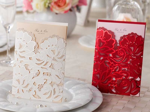 Solid Color Hollow-Out Invitation Cards (20 Pieces One Set)