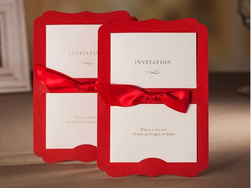 Red Ribbon Bow Knot Wedding Invitation Cards (20 Pieces One Set)