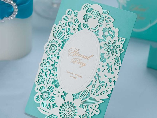 Mint Green Lace Invitation Cards (20 Pieces One Set)