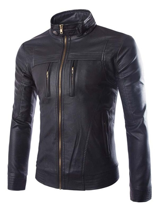 Stand Collar PU Zipper Motorcycle Bomber Slim Fit Men's Fashion Jacket