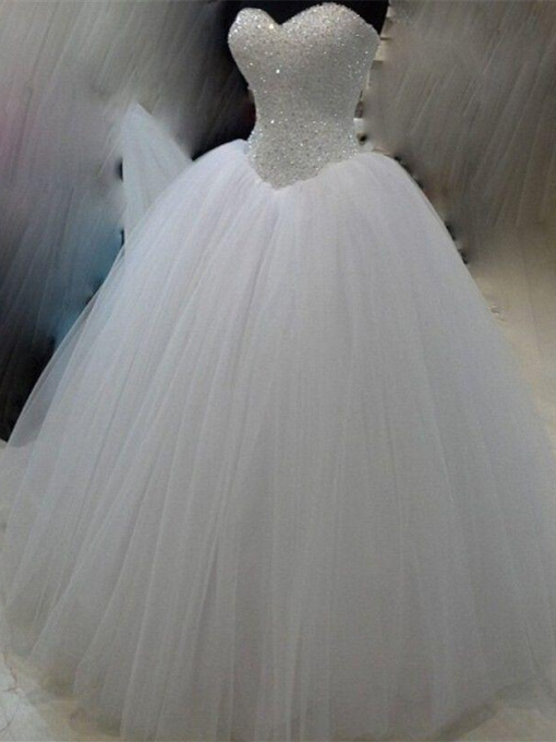Beaded Bodice Tulle Ball Gown Wedding Dress