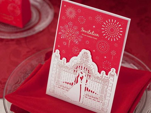 Red Newly-Weds Firework Wedding Invitation Cards (20 Pieces One Set)