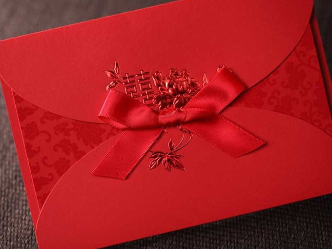 Red Wedding Invitation Cards with Ribbon ( 20 Pieces One Set )