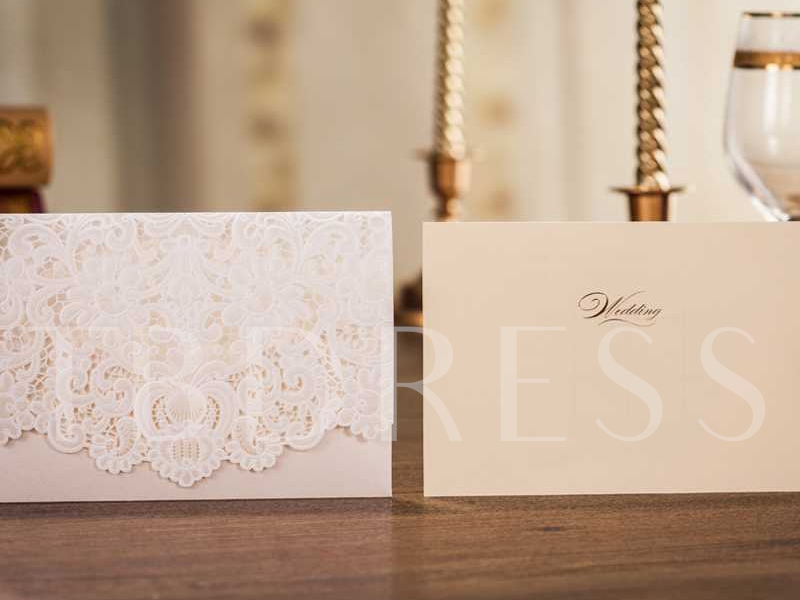 Floral Hollow-Out Invitation Cards (20 Pieces One Set)