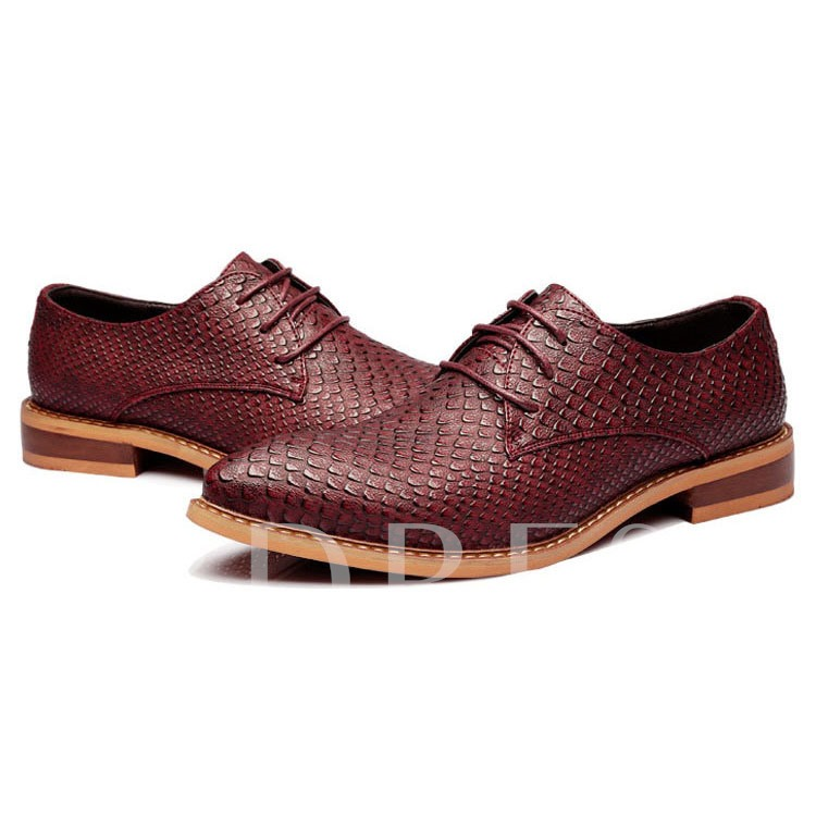 Square Low Heel Lace-Up Front Pointed Toe Low-Cut Upper Men's Oxfords