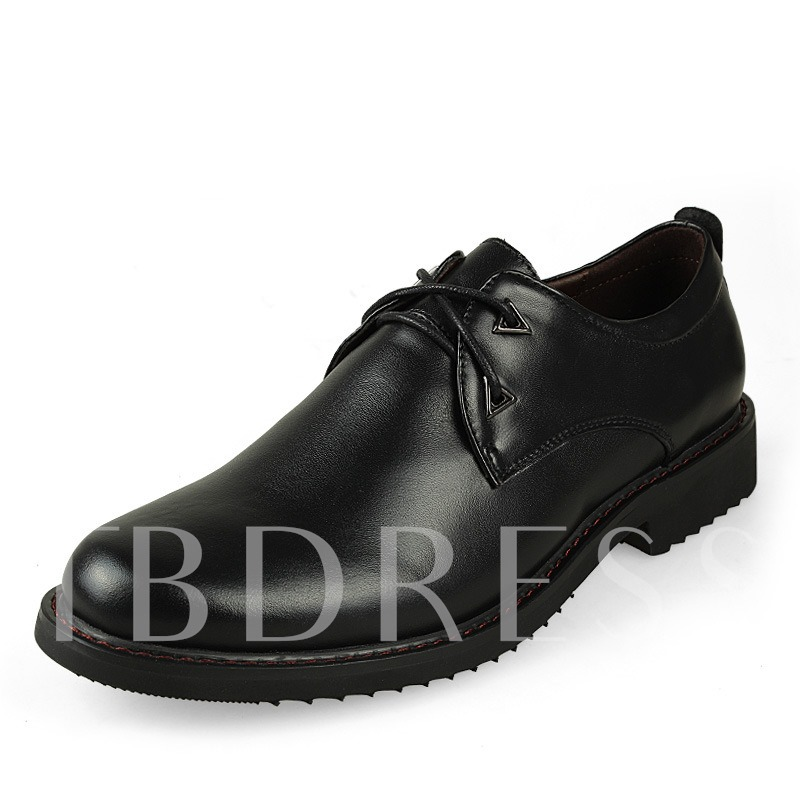 Round Toe Square Low Heel Lace-Up Front Flat Heel Men's Oxfords