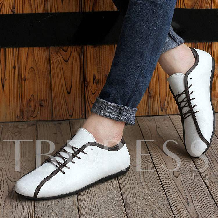 Flat Heel Lace-Up Front Round Toe Low-Cut Upper Men's Loafers