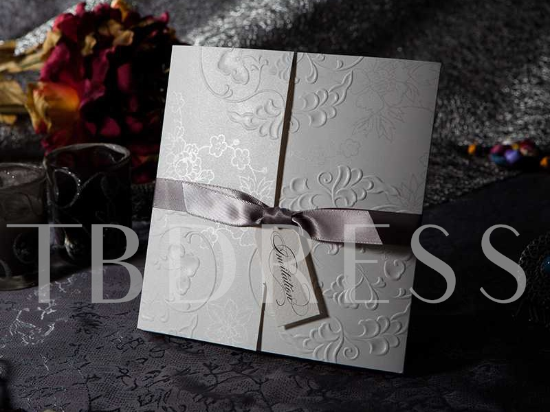 Floral Wedding Invitation Cards with Ribbons (20 Pieces One Set)