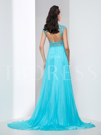 High Neck Appliques Beaded Court Train Evening Dress
